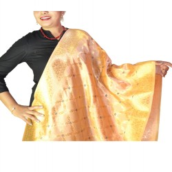 Buy silk dupaata in peach color & golden work.
