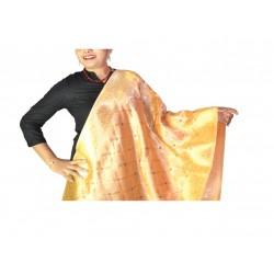 Buy silk dupatta in peach color & golden work.