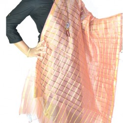 Buy Peach & Gold checker print statement duppata.