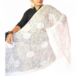 Buy white Chiffon light weight thread work dupatta.