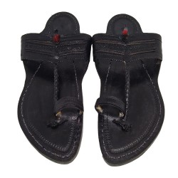 Buy Black colored Leather Kolhapuri Chappal for men