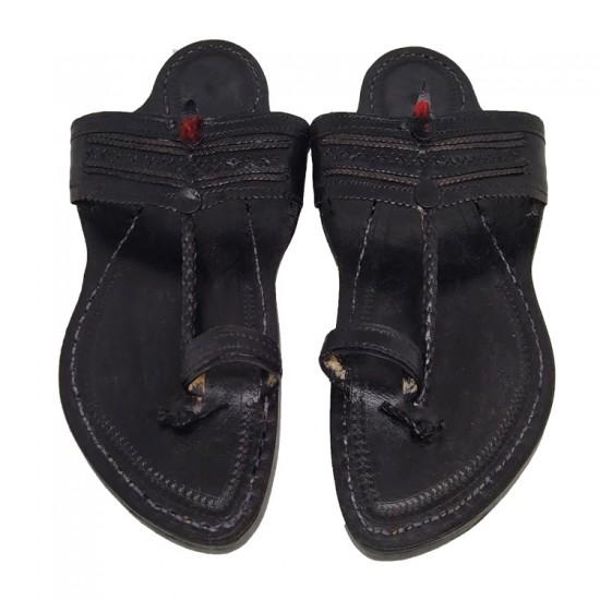 Buy Black colored Leather Kolhapuri Chappal for men