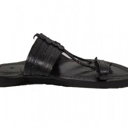 Buy Black colored double strap Kolhapuri Chappal for men.