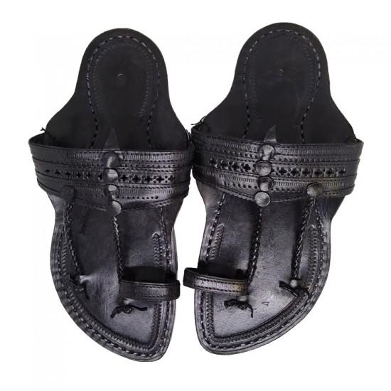 Buy Black colored double strap Kolhapuri Chappal for men.