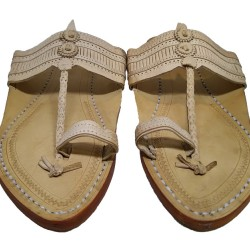 Buy classic skin colored kolhapuri footwear for men.