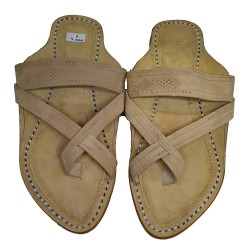 Buy cross belt skin colored kolhapuri chappal for men
