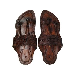 Buy dark brown traditional style kolhapuri chappal for men