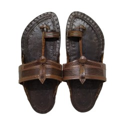 Buy Blackish Brown kolhapuri chappal for men.
