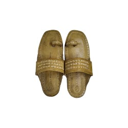 Buy leather colored flat sole kolhapuri chappal for men