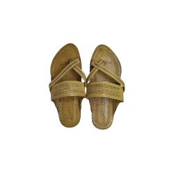 Buy Skin Colored Cross Strapped Kolhapuri Chappal for Men