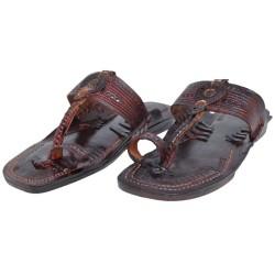 Buy handmade thick sole black kolhapuri chappal for men