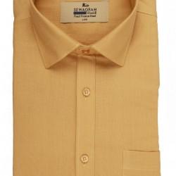Buy plain yellow muslin khadi shirt for men