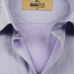 Buy plain lavender color muslin khadi shirt for men