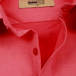 Buy plain Red colored Original Muslin Khadi shirt for Men