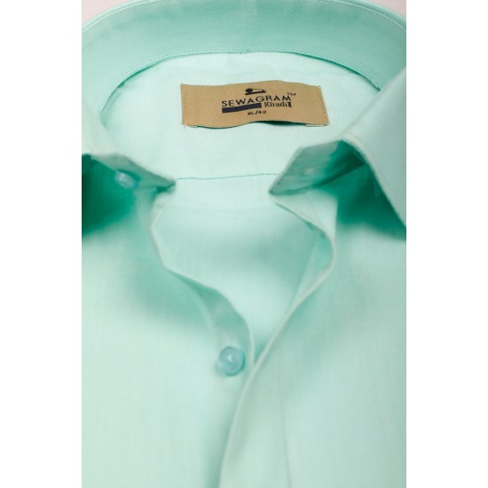 Buy pista colored plain khadi shirt with full & half sleeves