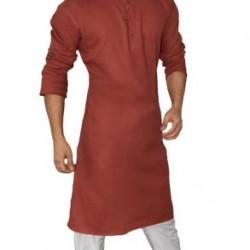 Buy Maroon colored premium khadi long kurta for men.