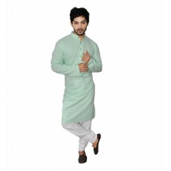 Buy light green colored premium khadi long kurta for men