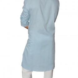 Buy light blue muslin khadi long kurta with full sleeves for men.