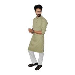 Buy Khaki coloured Premium Muslin Khadi Long kurta for men.