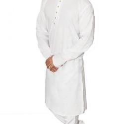 Buy Ecotattva premium khadi plain white long kurta for men