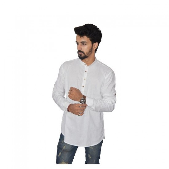Buy Ecotattva plain white khadi short kurta for men.