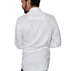 Buy Ecotattva plain white khadi short kurta for men.