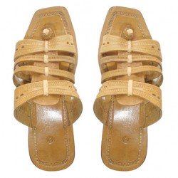 Buy beige colored kolhapuri flat sliders for men.