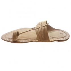 Buy beige colored flat leather kolhapuri chappal.