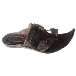 Buy black colored heavy designed kolhapuri chappal for men.