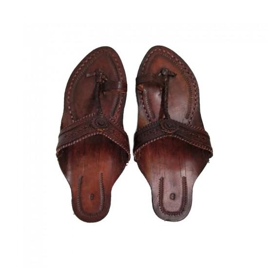 Buy Brown Colored Ladies kolhapuri chappal with heels