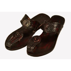 Buy original kolhapuri chappal with designed strap in brown color