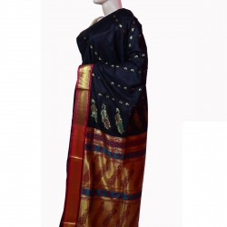 Buy Black Colored Belgaon Silk Saree With Contrast Blouse Piece