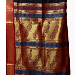 Black Colour Belgaon Silk Saree With Contrast Blouse Piece