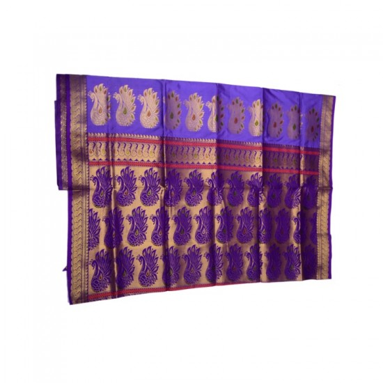 Buy Purple colored Belgaon Silk Saree with contrast blouse