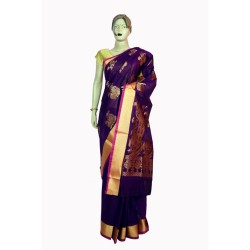 Buy Cotton Peacock print saree with running blouse piece