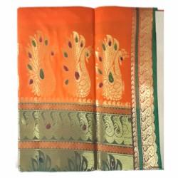 Orange Color Belgaon Silk Saree with contrast blouse piece